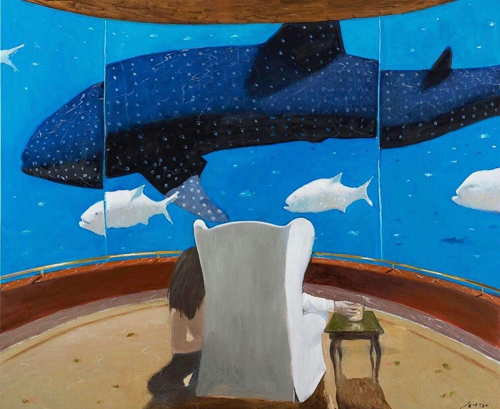 Julio Larraz® His Excellency, © 2020 Oil on Canvas 152 x 183 cm | 60 x 72 in.